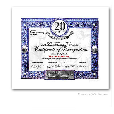 20 Years Anniversary / Jubilee Masonic Certificate of Recognition.