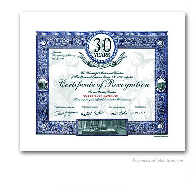 30 Years Anniversary / Jubilee Masonic Certificate of Recognition.