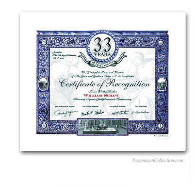 33 Years Anniversary / Jubilee Masonic Certificate of Recognition.