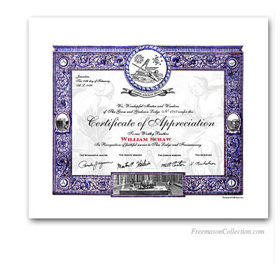 Masonic Certificate of Appreciation.