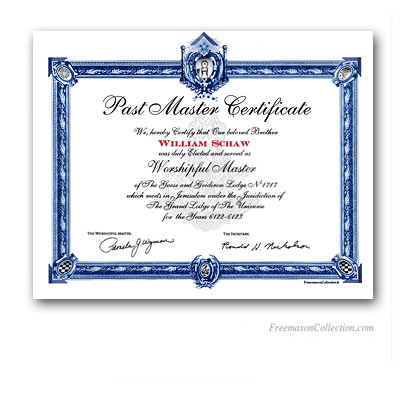 Past Master Certificate.