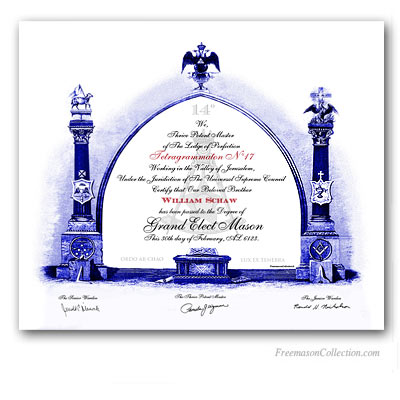 Grand Elect Mason Certificate. Lodge of perfection. Scottish Rite 14°. AASR. Certificate.