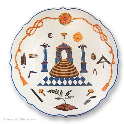 The Temple and Symbols. Masonic Faience Plate