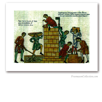 Building of the Tower of Babel. Masonic Art