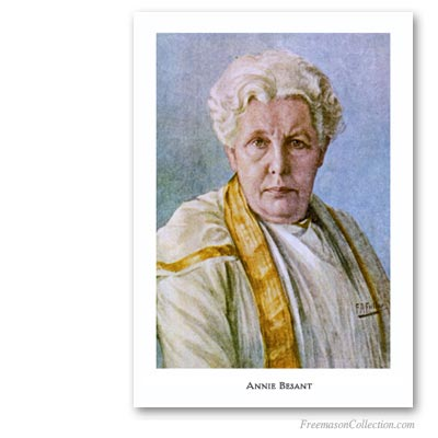 Annie Besant. Founder of the first Lodge of International Mixed Masonry, Le Droit Humain in England. Masonic Art