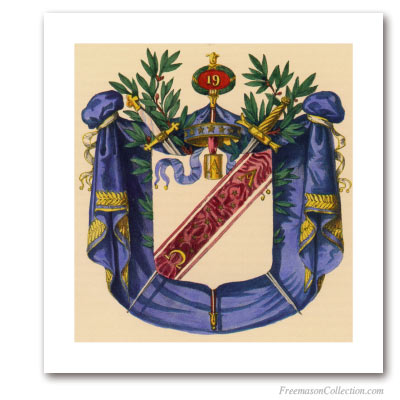 Coat of Arms of Grand Pontiff. 1837. 19° Degree of Scottish Rite. Masonic Art