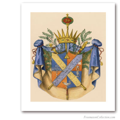 Coat of Arms of Master Ad Vitam. 1837. 20° Degree of Scottish Rite. Masonic Art