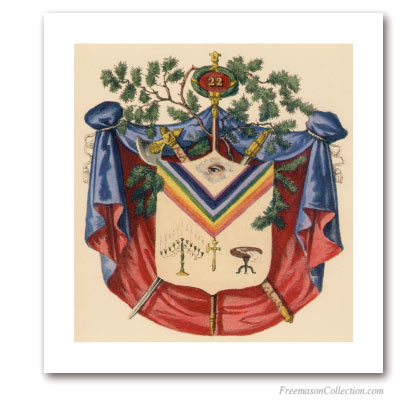 Coat of Arms of Prince of Libanus. 1837. 22° Degree of Scottish Rite. Masonic Art