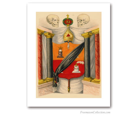 Coat of Arms of Chief of the Tabernacle. 1837. 23° Degree of Scottish Rite. Masonic Art