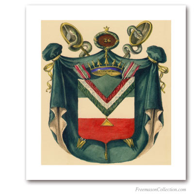Coat of Arms of Prince of Mercy. 1837. 26° Degree of Scottish Rite. Masonic Art