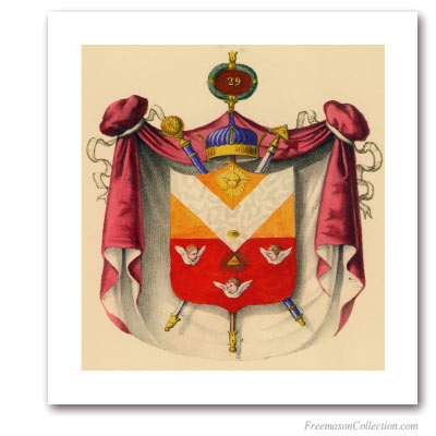Coat of Arms of Knight of Saint Andrew. 1837. 29° Degree of Scottish Rite. Masonic Art