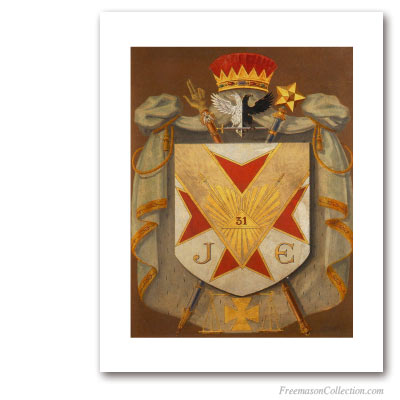 Armorial of Inspector Inquisitor. Circa 1930. 31° Degree of Scottish Rite. Masonic Art