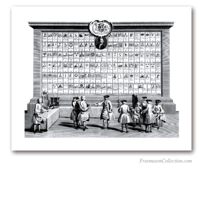 The Free Masons Lodges. 1736. Famous early english engraving listing the premier english lodges. Masonic Art