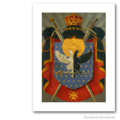 Armorial of Knight Kadosh. Circa 1930. 30° Degree of Scottish Rite. Masonic Art