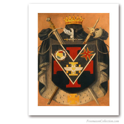 Armorial of Prince of the Royal Secret. Circa 1930. 32° Scottish Rite Degree. Scottish Rite. Masonic Art