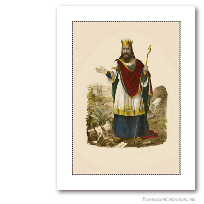 King Solomon. Albertus Magnus, 1849-1852. German Illustration. Masonic Art