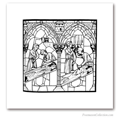 StoneCutters (2). Notre-Dame de Chartres, XIIIth Century. Engraving according to Saint-Chéron 's stained glass window. Masonic Art