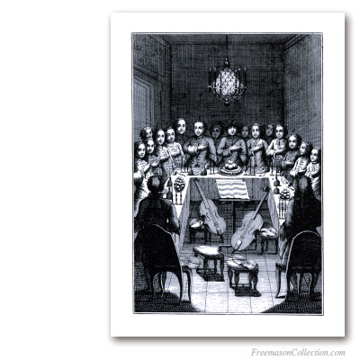 Festive Board. circa 1775. With music... Masonic Art