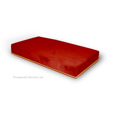 Red Velvet Kneeler. Wooden base, high density foam. Specially made for kneeling. Anti-stain velvet and trimmings. Freemason