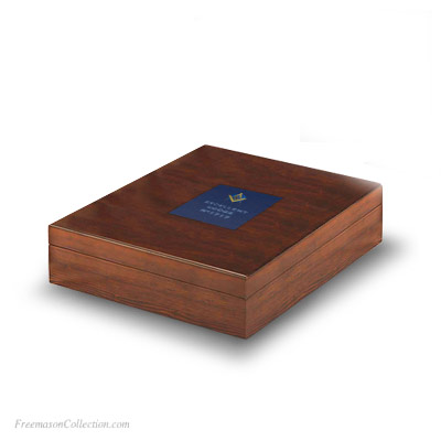 Box for 3 Masonic Gavels Handcrafted. Leather pattern inlay Genuine Acacia Wood. . Freemason