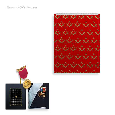 Masonic Medal Holders. Red. Square and Compass