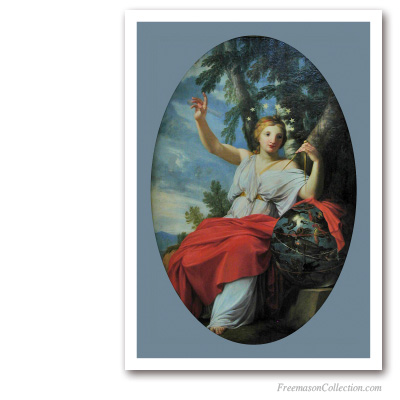 Uranie and her Compass. The astrology Muse. Eustache Le Sueur. Masonic Paintings