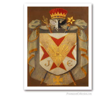 Grand Inspector Inquisitor Commandor Symbolic Coat of Arms. Scottish Rite. Masonic Paintings