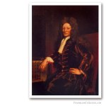 Sir Christopher Wren, End XVIIth. Issued on Art Canvas. Famous Freemasons. Freemasonry