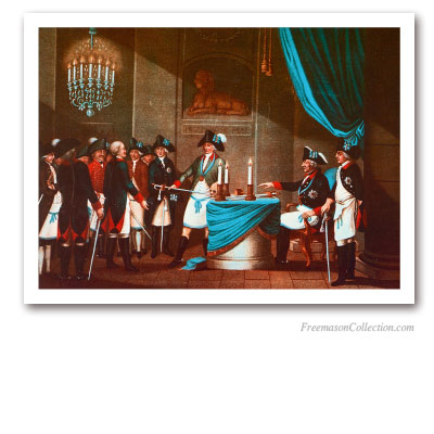Initiation of the Margrave Frederic Von Bayreuth by King Frederic II of Prussia. Masonic Paintings