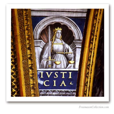 Cardinal Virtues : Justice. Masonic Paintings