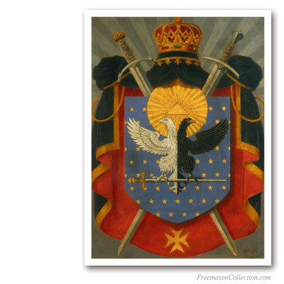 Knight Kadosh Symbolic Coat of Arms. Circa 1930. Rare Portrayal of Scottish Rite 30thDegree Cres. Scottish Rite.
