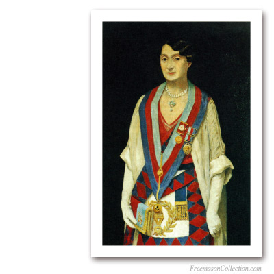 English Royal Arch Freemason Woman. XXth century. Masonic Paintings