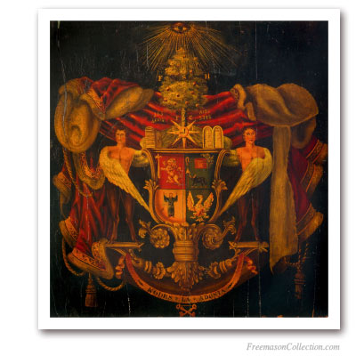 Coat of Arms of the Grand Lodge of Antients. Middle XVIIIth Superb representation from a painting on wood.