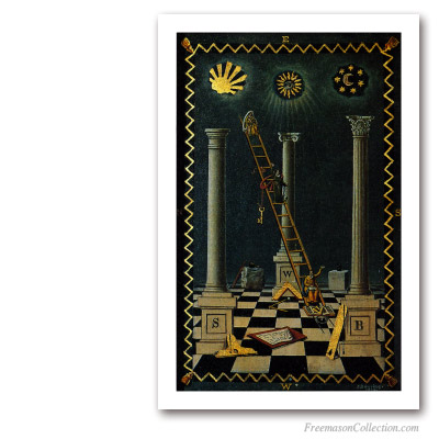 English First Degree Tracing Board. Masonic Paintings