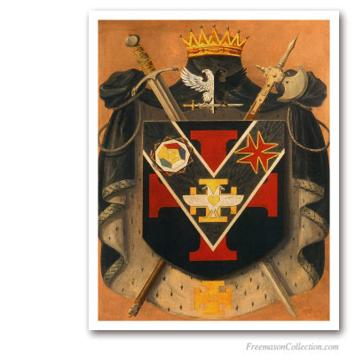 Prince of The Royal Secret Symbolic Coat of Arms. Circa 1930. 32thDegree Crest. Scottish Rite. Masonic Paintings