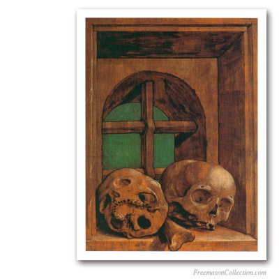 Skulls. Hans Holbein Le Jeune, circa 1530. Masonic Paintings