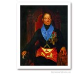 Worshipful Master with 'Grand Steward' apron. Issued on Art Canvas. Famous Freemasons. Freemasonry
