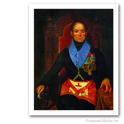 Worshipful Master with 'Grand Steward' apron Masonic Paintings