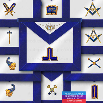 Blue Lodge 11 Officer Aprons - Blue Lodge Regalia